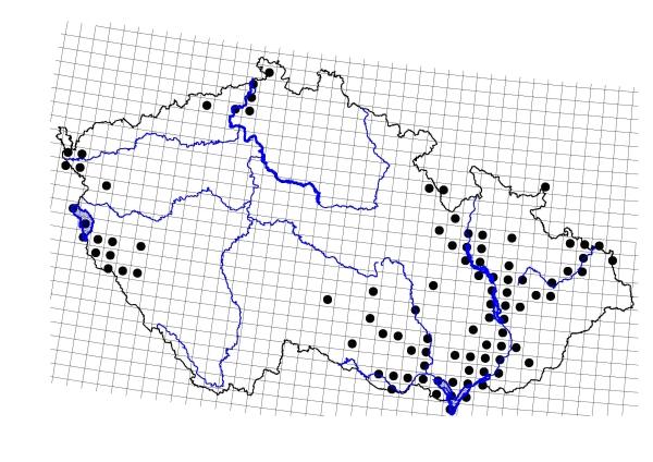 Obr. 1 Mapa rozšíření bobra evropského vČeské republice (2008)