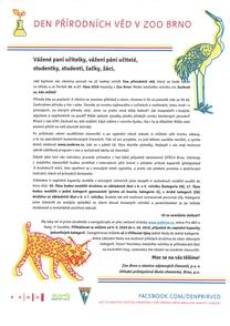 Den přírodních věd pro školy 16. a 17. 10. 2019